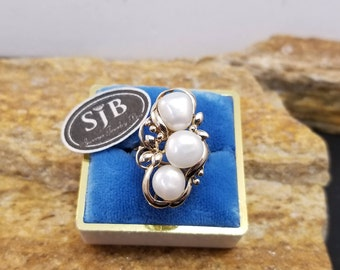 Pearl Ring, 14k Pearl Ring, 14k Yellow Gold Pearl Ring, 14k Genuine Pearl Free-form Ring, June Birthstone, Pearl Fashion Jewelry #C390, Sz7