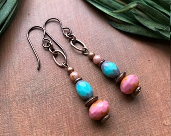 Rustic Pink and Blue Earrings - Bohemian Czech Glass and Copper with Picasso and Copper Ox by Vintage Earth