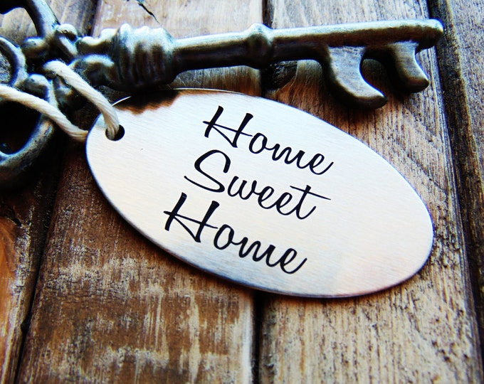 House Warming Gift- Home Sweet Home Keychain - Custom Font Text or Handwriting- Stainless