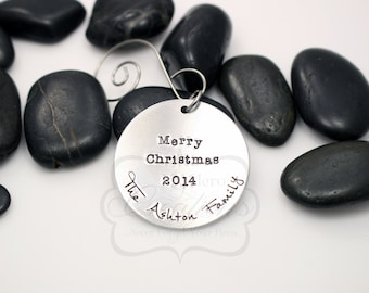 Hand-Stamped Personalized Family Name Christmas Ornament