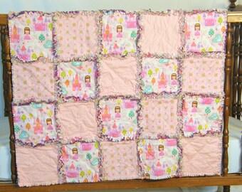 Princess Blanket, Princess Newborn, Princess Nursery, Cotton Baby Blanket, Baby Rag Quilt, Shabby Chic Rag Quilt, Baby Girl Nursery Bedding,