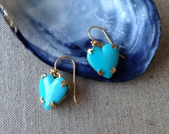 Vintage blue glass heart earrings