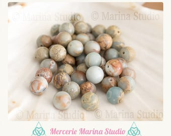 5 natural 8mm round serpentine beads
