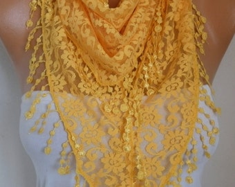 Yellow  Lace Scarf, Easter,Shawl, Cowl Scarf Bridesmaid Gift Gift Ideas For Her, Women's Fashion Accessories