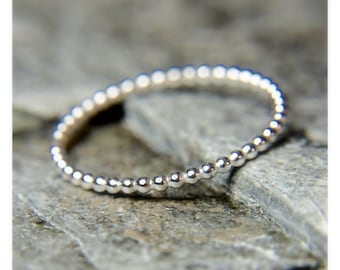 Beaded ring, Silver bead ring, dotted ring, stacking ring, Dainty stacking ring, petite ring, thin silver ring, skinny silver ring, 925