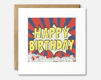 Happy Birthday Stripes Shakies Card by James Ellis