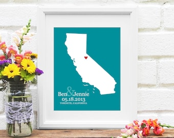 California State Map, Personalized California Wedding Gift, Guest Book, Anniversary Gift, Bridal Shower, Wedding Map -  Art Print