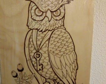 A4 Woodburning of an Owl