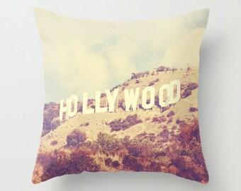 decorative pillow cover, Los Angeles throw pillow case, Hollywood sign, home decor, LA photography, retro blue, modern loft decor, 18x18