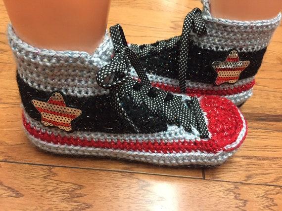 96c1a53c231e ... sneaker converse custom top high tennis shoes 9 converse 453 converse  inspired crocheted Womens 7 bling ...