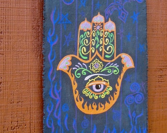 Hamsa Hand, canvas wall hanging, protection, Made To Order only
