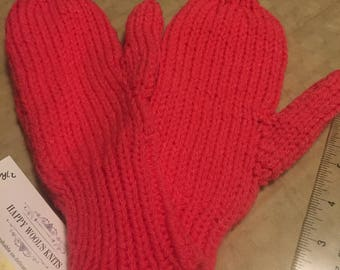 Hand knit pink mittens