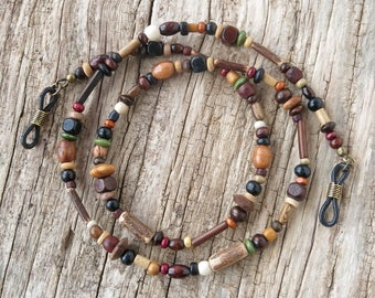 Glasses chain wood beaded eyeglass necklace sunglasses lanyard cord necklace