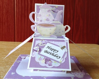 Floral/flower/pop-up/card-in-a-box/happy birthday/Unique Greeting card 3D/personalize your card