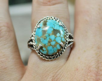 Turquoise Ring, 8 Turquoise, Sterling silver, silver ring, blue turquoise, Gemstone Jewelry