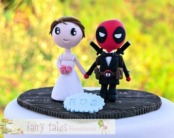 Deadpool Wedding Cake Topper with Stand