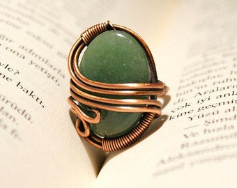 aventurine ring,  copper ring, wire wrapped ring, wire wrapped jewelry, copper wire jewelry, wire jewelry, aventurine jewelry