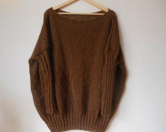 Oversized Plus Size Hand Knit Sweater Tunic Loose Knit Women's Sweater