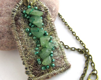 Green Jade Pendant - Textile Art Necklace - Raw Crystal - Heart Energy Jewelry