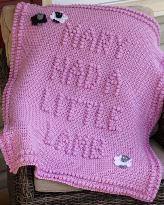 INSTANT DOWNLOAD - Mary Had A Little Lamb Crochet Baby Blanket Pattern - Baby Blanket Pattern - Blanket Pattern