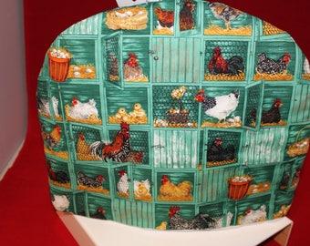 Beautiful English Tea Cozy, Insulated Tea Cosy, Green Cozy Hens Motif, Tea Warmer, Chickens Tea Table