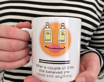 Knitting After A Couple Of Gins | Gin Loving Knitters | Knitting Mug | Gift For Knitters