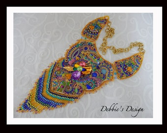 Women's Handbeaded Bib Necklace-273 Beadwork, Beaded, Bead Embroidery, OOAK, Women's Beaded Necklace Bib, Collar, Fiber, Vintage