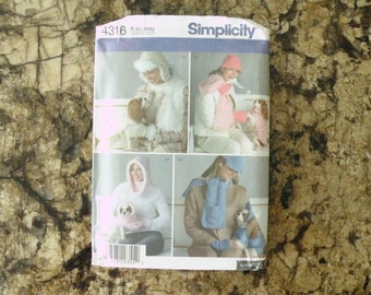 2005 Uncut Vintage Simplicity Pattern 4316 Misses Hat and Dog Clothes in Three Sizes