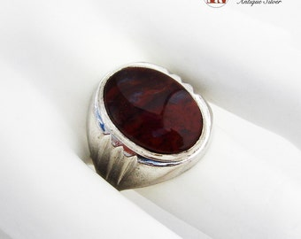 Oval Carnelian Agate Ring Rhodium Plated Sterling Silver