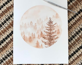 Warm Toned Misty Pines Giclee Print of Watercolor Painting