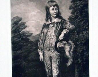 Gainsborough's Blue Boy - Mezzotint
