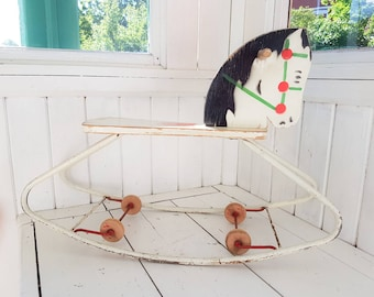 Antique rocking horse, ride on horse, wood horse, wooden toys, vintage scandinavian design, kids room decor, vintage kids room, vintage toys
