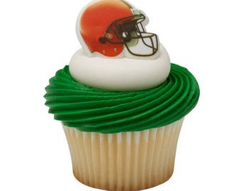 12 Cleveland Browns NFL Football Cupcake Rings Toppers Decorations Party Favors