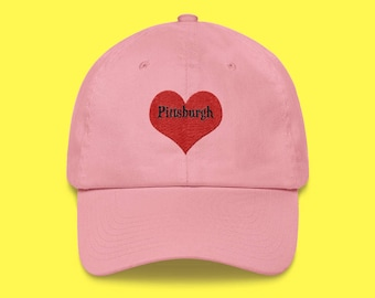 PITTSBURGH Cap with the word Pittsburgh inside of an Embroidered Red Heart with FREE SHIPPING