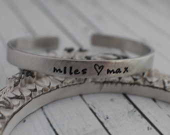 Hand Stamped Personalized Bracelet Personalized Cuff Bracelet - Personalized - Stacking Bracelets God Gave me You - Mother's Day Gift