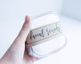 "Organic Bamboo Facial Rounds + Organic Cotton Thread  Face Cloth  Make-up Remover  4"" Facial Rounds -Choose your quantity - DOVE GREY THREAD"