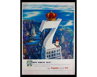 1949 Ad Seagram's 7 Crown Whiskey Tops Them All Vintage Print Ad ETK319