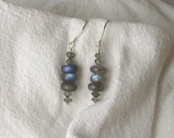 Labradorite Earrings, Smooth Rondelles, Stacked Flash Sterling Silver