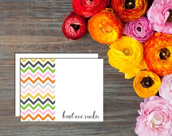 Colorful Chevrons Personalized Card - Set of 12