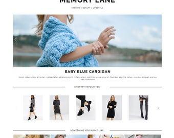 "Wordpress Theme ""Memory Lane"" | Responsive Magazine Style Layout Premade Blog Design Template"
