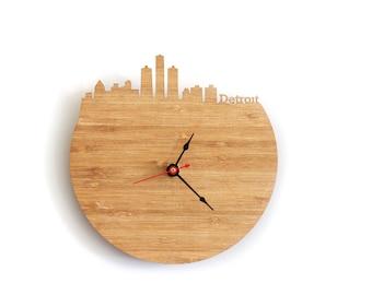 Wall Clock - Detroit, Michigan Skyline