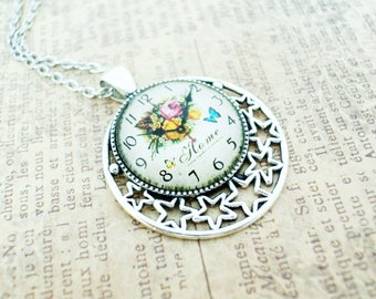 Antique silver glass photo necklace with pierced stars-Silver clock necklace gift for mom-Steampunk jewelrygift for her-Dainty necklace