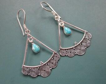 Balinese Sterling Silver Turquoise dangle  Earrings / 1.50 inch long /  silver 925 / Bali handmade jewelry / (#86K)