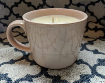 Clean Cotton Soy Candle in a Pink Mug