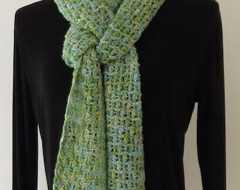 Blue-Green Tunisian Crochet Scarf
