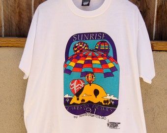 Vintage T-Shirt Sunrise Takes To The Skies '91 American Cancer Society Arizona Division 50/50 Cotton Polyester Screen Stars Best Made in USA
