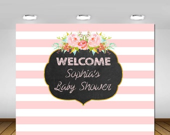 Baby Shower Backdrop, It's a Girl Baby Shower Backdrop, Pink Stripe Backdrop, Baby Shower, Bridal Shower, Baby Girl, Backdrop, Poster, Sign