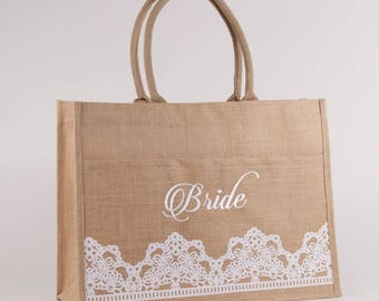 Bride Lacey Jute Pocket Tote , Monogrammed Large Utility Tote, Beach Bag, Personalized Beach Tote, Embroidered Beach Bag