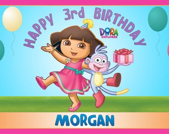 Personalized Nick Jr Dora the Explorer and Boots Birthday Party Big Vinyl Banner Sign Poster Decoration