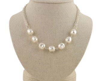 Multistrand Pearl Necklace, Chunky Pearl Necklace, Pearl Bridal Necklace, Baroque Pearl Necklace